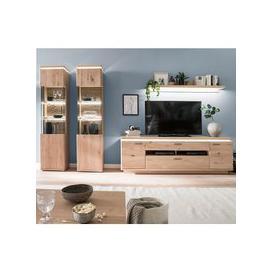 image-Barcelona LED Living Room Set In Planked Oak With 2 Display Unit
