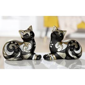image-Cat Lying Assorted Odacia 2 Piece Figurine Set Brayden Studio Finish: Gold/Black