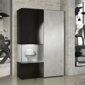 image-Morena Display Cabinet with Lighting Vladon Colour: Concrete Oxide Optics, Features: With LED
