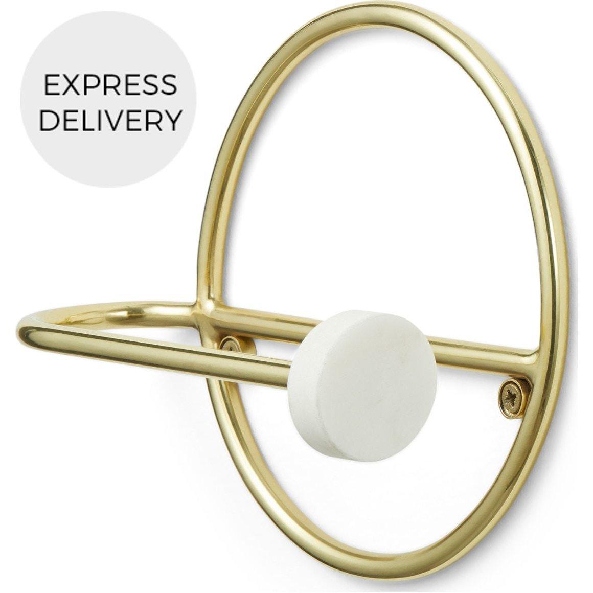 image-Sakari Marble Toilet Roll Holder, Brushed Brass