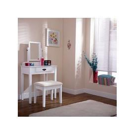 image-Matilda Dressing Table White & Pine 1 Drawer With Stool