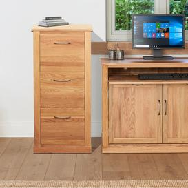 image-Mobel Oak Furniture 3 Drawer Filing Cabinet