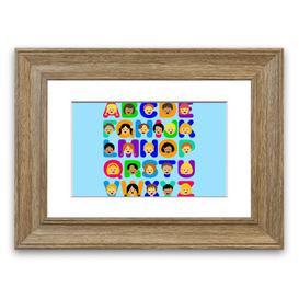 image-'Alphabet Children' Framed Graphic Art in Baby Blue East Urban Home Size: 30 cm H x 40 cm W, Frame Options: Teak