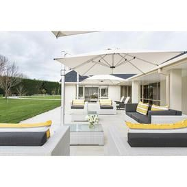 image-Square Cantilever Parasol Symple Stuff Colour: Cream, Base Type: In-ground Fitting, Open Umbrella Width (cm): 350