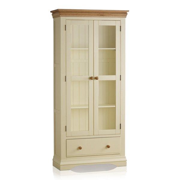 image-Handmade 100% Solid Natural Oak & Painted Display Cabinets - Display Cabinet - Country Cottage Range - Oak Furnitureland