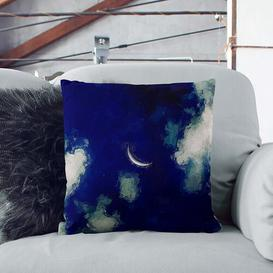 image-Crescent Moon Through the Clouds Cushion with Filling