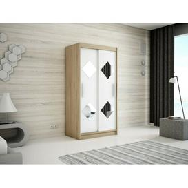 image-Paschall 2 Door Sliding Wardrobe Mercury Row Size: 200cm H x 120cm W, Finish: Oak/Matt White