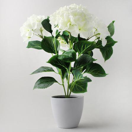image-Artificial Hydrangea Plant Cream in Pot 50cm Cream