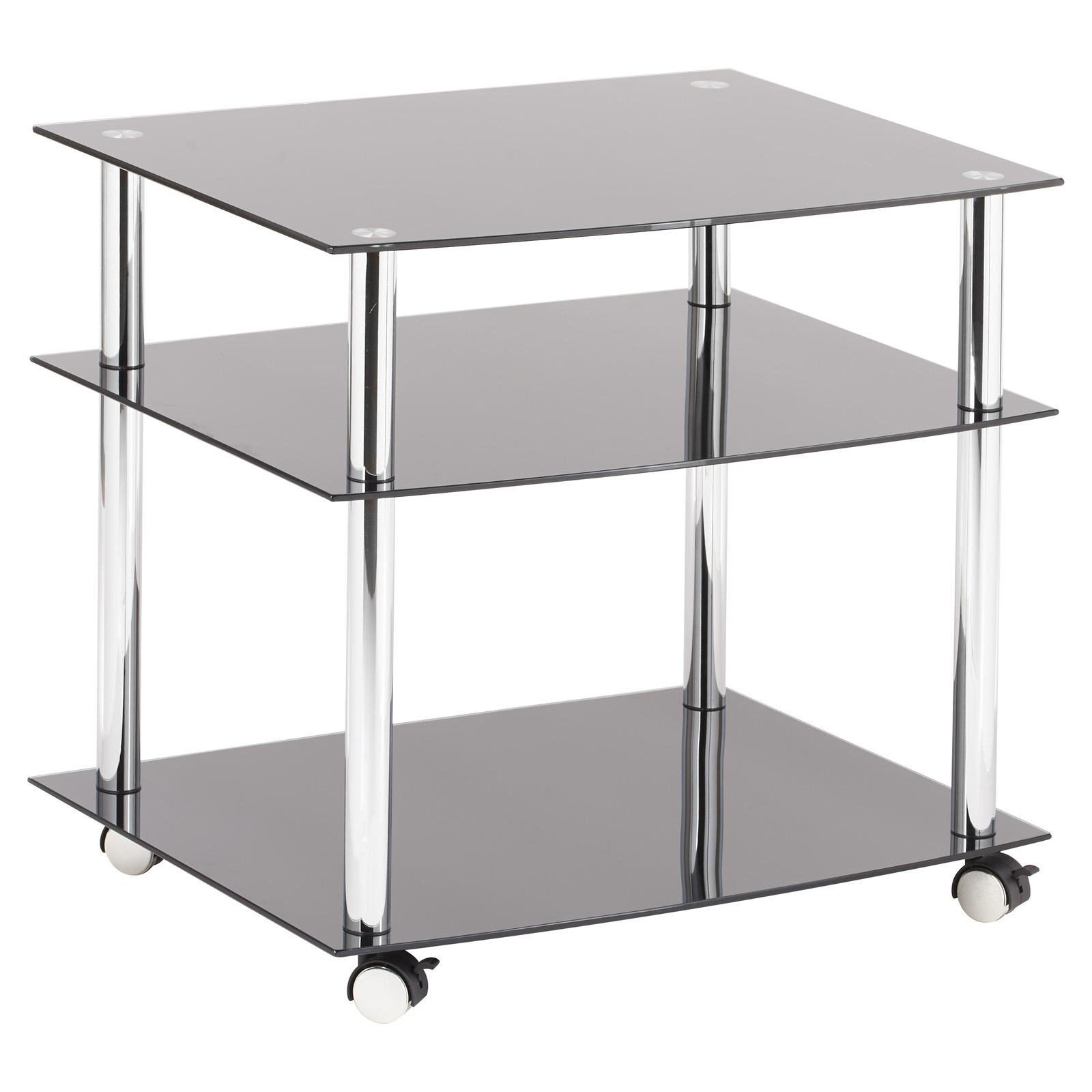 image-Hartleys Black Glass TV DVD Unit with Wheels - Mobile 3 Tier Trolley