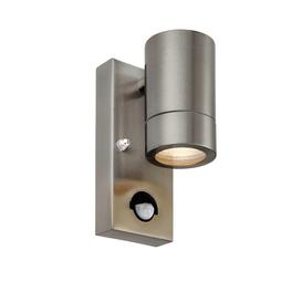 image-Palin PIR Outdoor Single Wall Spotlight with Sensor, GU10, IP44 Rated, Brushed Stainless Steel Finish.