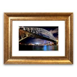 image-'Sydney Harbour Bridge Night Lights' Framed Photograph East Urban Home Size: 30 cm H x 40 cm W, Frame Options: Gold