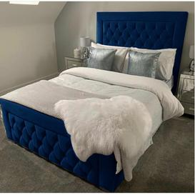 image-Kristian Upholstered Bed Frame with Diamante Buttons Ophelia & Co. Colour: Navy Blue Soft, Size: Super King (6')