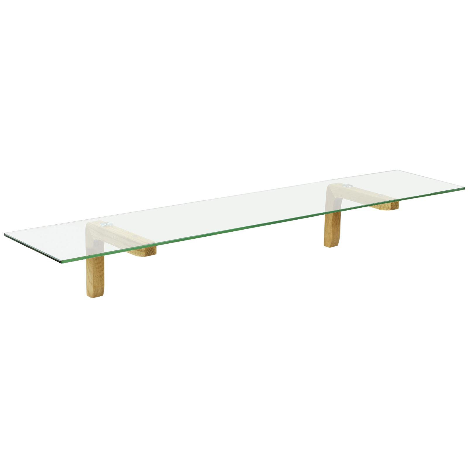 image-Hartleys Oak & Glass Wall Shelf - 100cm