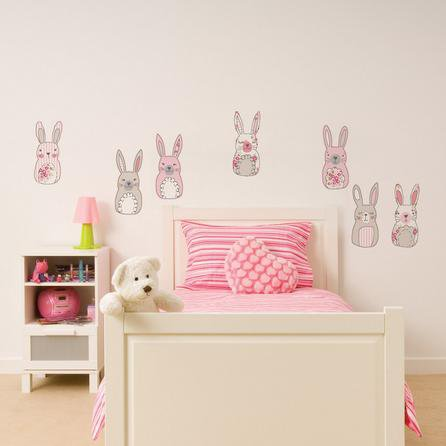 image-Katy Rabbit Wall Stickers Pink/White/Grey