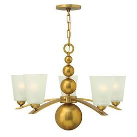 image-Vancleave 5-Light Shaded Chandelier Marlow Home Co. Finish: Vintage Brass