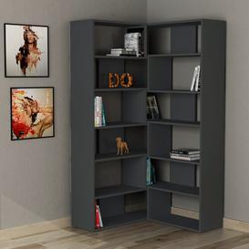 image-Molly Corner Bookcase Symple Stuff Colour: Anthracite