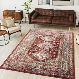 image-Red Traditional Living Room Rug - Milan