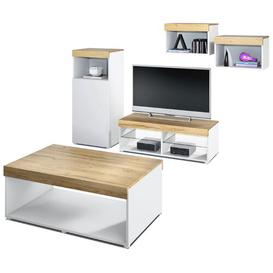"image-Pure Entertainment Unit for TVs up to 55"" with Coffee Table Vladon Colour: White/Pine, Built In Lighting: Yes, Plug Type: C/F"