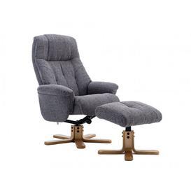 image-DubaiDublin Swivel Recliner Chair and Stool - Lisbon Grey