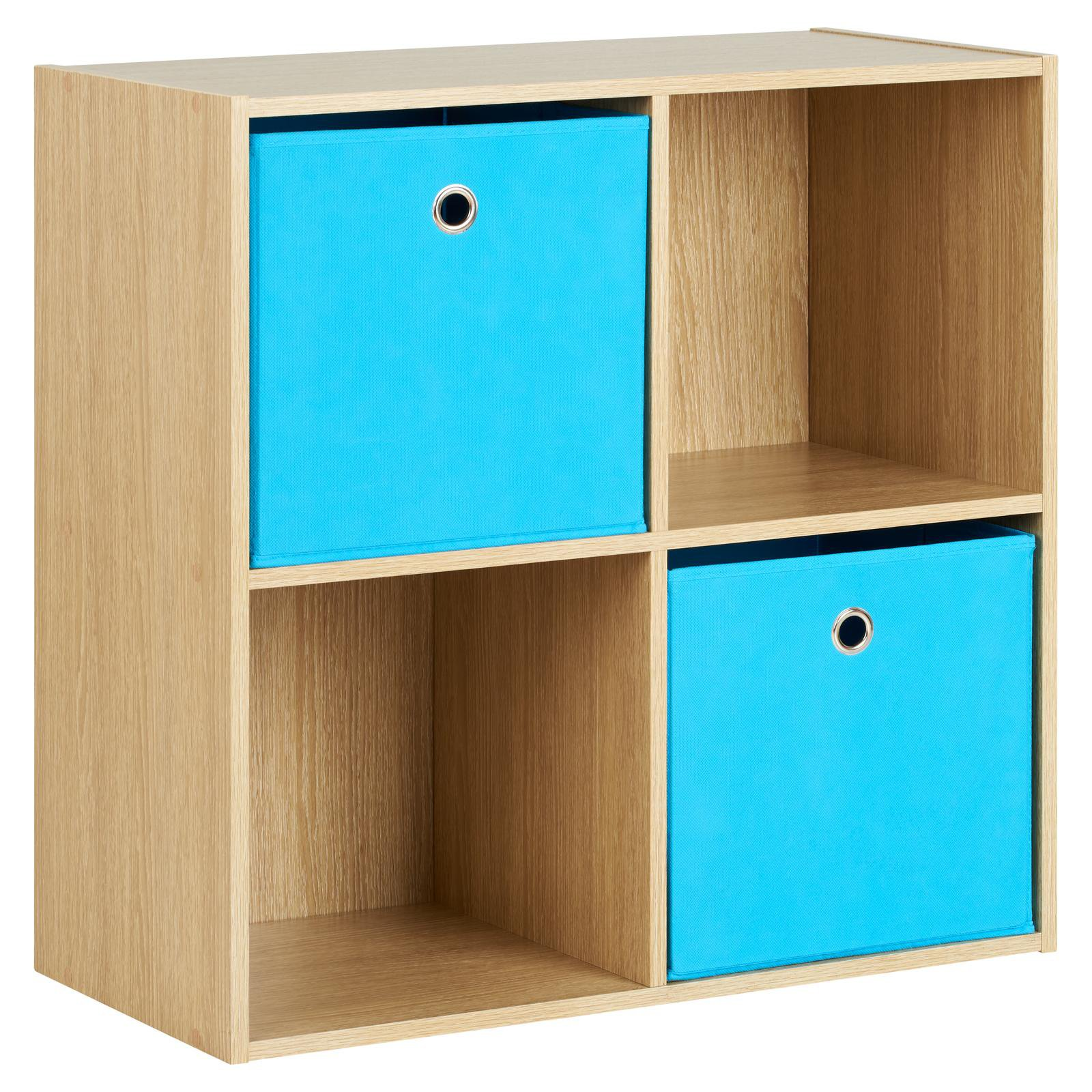 image-Hartleys Oak 4 Cube Storage Unit & 2 Easy Grasp Box Drawers - Blue