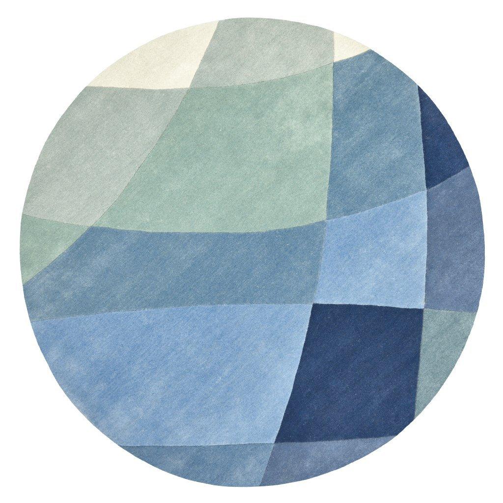 image-Rhythmic Tides Indigo Round Rug - 200 cm diameter