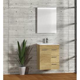 image-Bathroom 600mm Wall Hung Single Vanity Unit Symple Stuff Vanity Base Colour: Light Oak