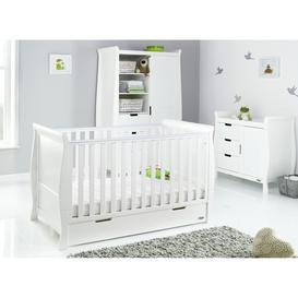 image-Obaby Stamford Classic Sleigh 3 Piece Nursery Set  - White