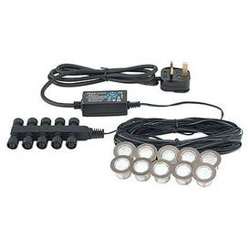 image-Ikon 30mm LED Deck Lights Kit. 10 x 0.15W White Light in Chrome. IP67 Rated. Easy to install.