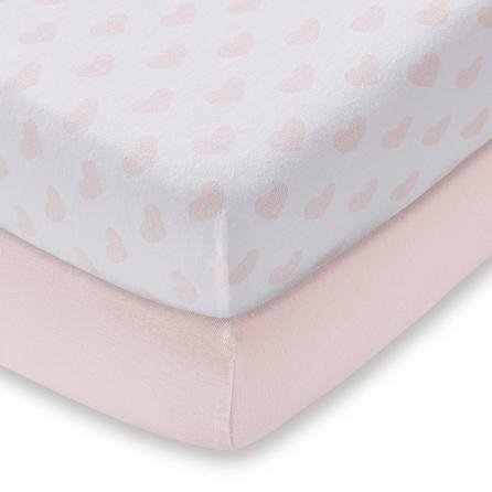 image-Pack of 2 Pink Heart 100% Cotton Jersey Cot Bed Fitted Sheets Pink
