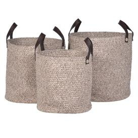 image-Rope basket with leather handles Large