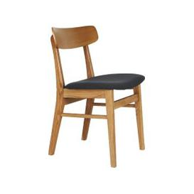 image-Vince Oak Dining Chair With Charcoal Grey Upholstered Seat Cushion, Oak And Black