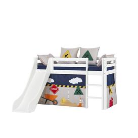 image-Basic Construction Mid Sleeper Bed with Curtain Hoppekids