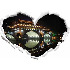 image-Brightly-Lit Chinese Bridge Wall Sticker