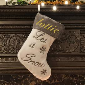 image-Let It Snow Personalised Christmas Stocking East Urban Home Colour: Glitter Gold