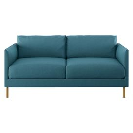 image-Hyde Teal 2 Seater Sofa, Wooden Legs, Teal