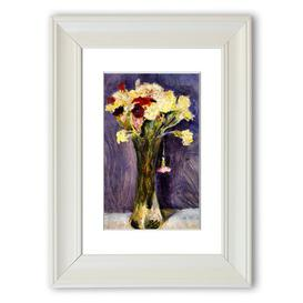 image-'Carnations in a Green Vase Cornwall' Framed Photograpic Print East Urban Home Size: 126 cm H x 93 cm W, Frame Options: White