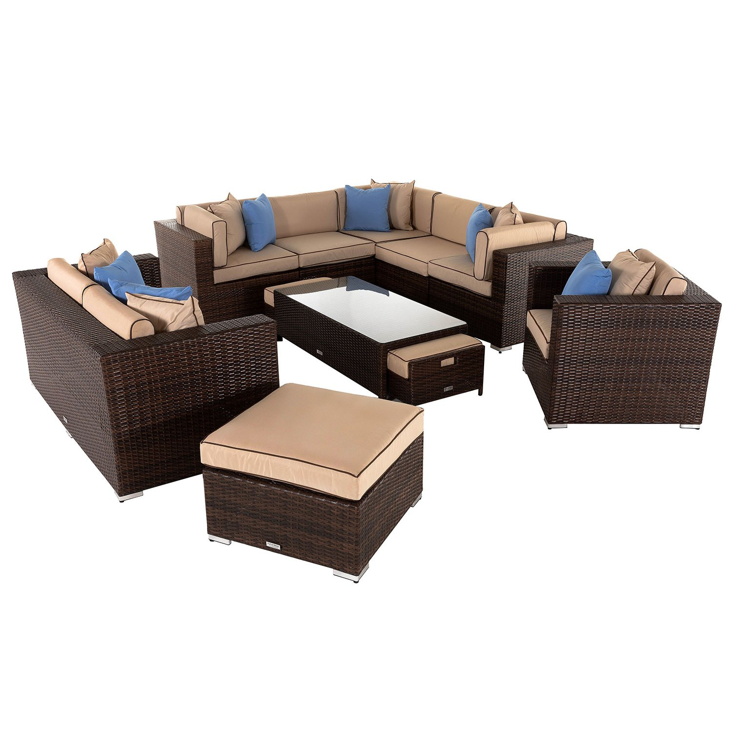 image-Geneva 4: Rattan Garden Corner Sofa Set in Chocolate and Cream
