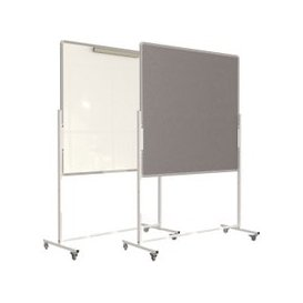 image-Mobile Flip Chart Noticeboard Combi, Grey, Free Standard Delivery
