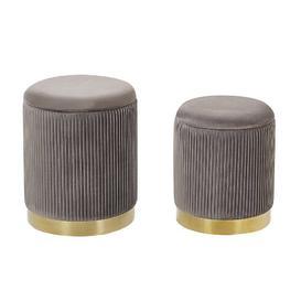 image-Gadsden 2 Piece Dressing Table Stool Set Fairmont Park Seat Colour: Grey