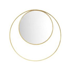 image-Round Mirror with Gold Metal Double Frame D90