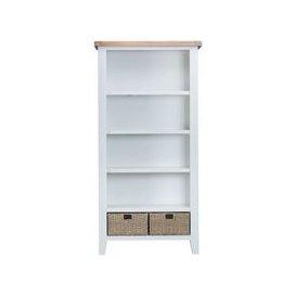 image-Lighthouse Oak Top Large 5 Shelf Bookcase - White