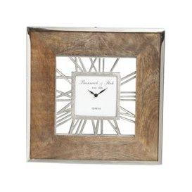image-Small Square 40cm Natural Wood Wall Clock