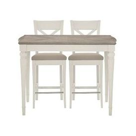 image-Furnitureland - Annecy Bar Table with 2 Leather Cross Back Bar Stools - Grey