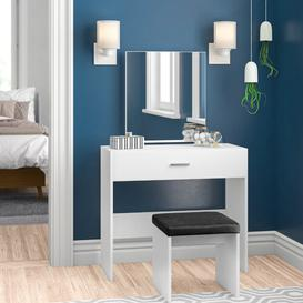 image-Pascal Compact Dressing Table Set with Mirror Zipcode Design Colour (Body/Front): White