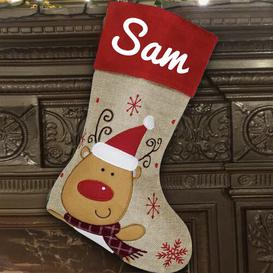 image-Reindeer Personalised Christmas Stocking East Urban Home Colour: White