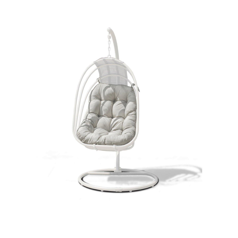 image-Maze Rattan Garden Furniture Amalfi White Metal Hanging Chair