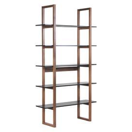 image-Loki Walnut And Black 5 Shelf Bookcase, Walnut