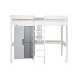 image-Stompa - Nexus High-Sleeper with Desk and Low Wardrobe - White