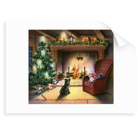 image-'Christmas Tree by Fireplace' Drawing Marlow Home Co. Format: Unframed Paper, Size: 40 cm H x 50 cm W x 0.2 cm D