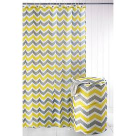 image-2-Piece Chevron Shower Curtain and Pop-Up Laundry Bag